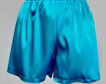 Turquoise stretch satin sleep shorts size Med  lingerie casual,bridal, bridesmaids gifts