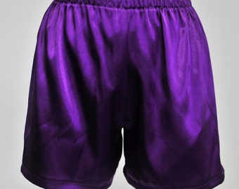purple stretch satin sleep shorts size Med  lingerie casual,bridal, bridesmaids gifts