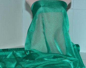 "Sparkle Organza fabric Emerald Light  45"" wide sheer ..pageant dress skirts, formals, crafts, wedding, home decor"