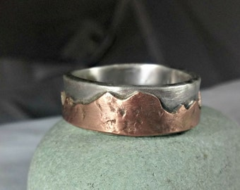 Mountain range silver and  rose gold wedding band, Men's  Ring, unisex jewelry, custom made rustic sterling  and gold ring, unisex