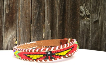 70's Yellow Eagle beaded belt- size xsmall or small