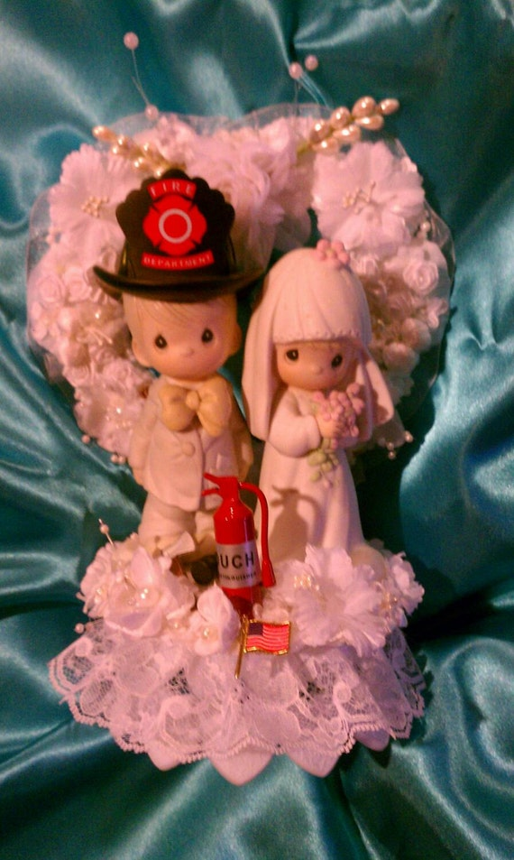 Precious Moments Firefighter Wedding Cake Topper