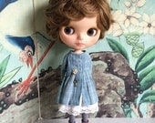 Blue Shepherdess Coat Set for Blythe - dusty blue