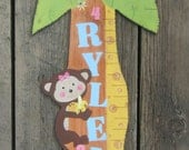 Wood Growth Chart JUNGLE FRIENDS - Hand Painted Keepsake - Baby Girl