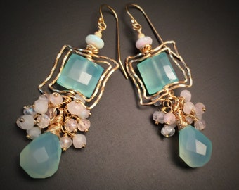 Luminous mint green chalcedony earrings accented with Australian Opal, moonstones and mystic quartz