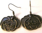 October 31 Happy Halloween bronze pumpkin charm pierced dangle earrings