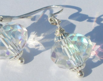 faceted crystal bead with silver detail pierced dangle hand made earrings by Ziporgiabella