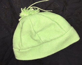 Vintage Green Wool Doll Hat