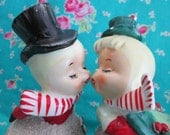 Vintage Lefton Snowman Couple Bells..Super sweet!!