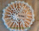 Wish Ticket Paper Fan Ornament, Hand Created, Christmas Tree Ornament, Card Gift, Gift Tag, Original Design, ECS