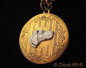 WEIMARANER JEWELRY. LOCKET Necklace. Vintage Style Weimaraner Jewelry.Weim Hand Painted Gifts for Dog Lovers by Cloud K9. Weimaraner Pendant