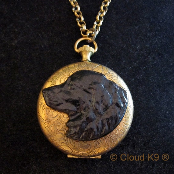 Newfoundland dog jewelry large photo locket necklace black for Just my style personalized jewelry studio