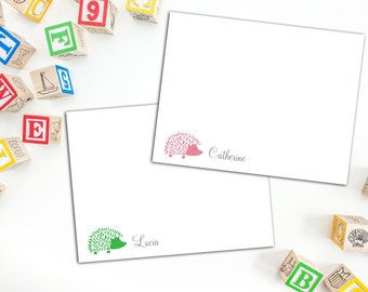 Hedgehog Personalized Flat Note cards with Envelopes, Sets of Ten Cards, Thank you Cards, Cute Fun Note Cards for Kids and Adults, Thank You