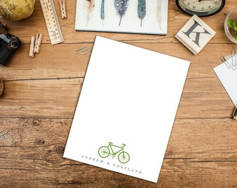Bicycle Personalized A2 Flat note cards with Envelopes, Set of ten Note Cards, Fun Thank you Cards