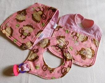 Girl Pink w/Monkeys Baby Layette set 1 burpcloth/bib and binky holder; baby gift set; baby shower gift