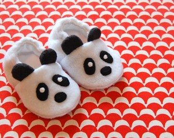 Panda bear baby booties