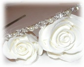 Swarovski Pearl Crystal Slim Bridal Headband Tiara Band Crown Wreath Gold Silver White Ivory Headpiece Hairpiece Alice Band