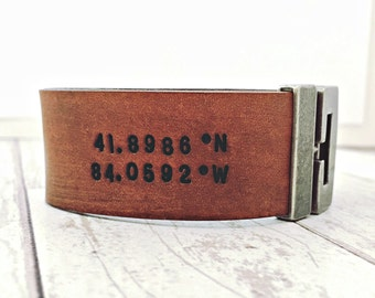 Leather custom coordinates bracelet - destination stamped with latitude longitude for him - 3rd anniversary gifts for men