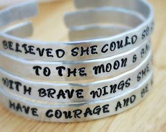 Inspirational bracelet, hand stamped cuff, She Believed She Could So She Did. Have Courage and Be Kind. Back to School Gift - Encouragement