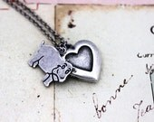 Reserved for Artsignz qty 5..................................hippo. heart locket necklace. in silver ox jewelry