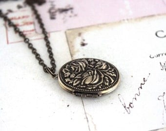 rose oval. locket necklace. brass ox jewelry