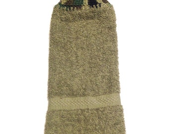 Sage Green Hand Towel With Camouflage Crocheted Top