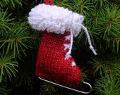 Christmas Knitted Ice Skate Ornament