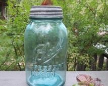 Vintage Blue Quart Mason Jar With Zinc Lid - Rare 1930s Off Center