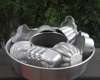 Vintage Tin Jello Molds - Nine Aluminum Molds for Crafting - Soap/ Candle Molds
