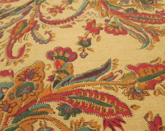 Vintage Round Fall Tablecloth - Tan Rust Teal Gold Paisley