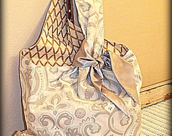 Large Bucket Style Tote in Gray White and Blue w/satin Tie Shopping Beach Gift School by Make Mine Pretty