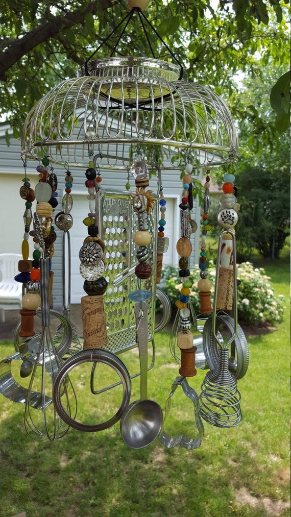 Items similar to weird wind chimes made with recycled for Wind chimes from recycled materials