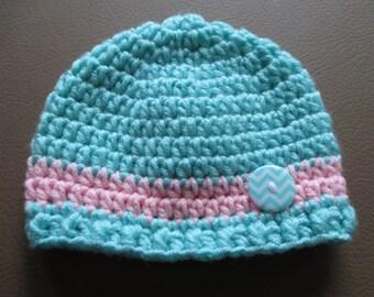 Crochet Baby Girl Hat PhotoProp 0-3 Months