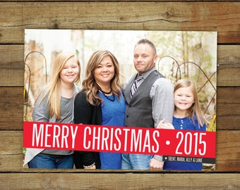 Simple, bold Christmas card, Merry Christmas or Happy holidays card with photo, custom personalized card, printable card or printed cards
