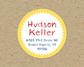 Child's return address labels - round child's return address labels - custom colors