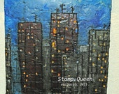 Foggy city night - encaustic wax painting