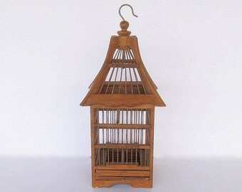 Vintage Birdcage Wooden Hanging Birdcage