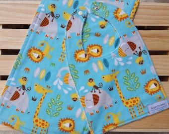 Bib & Burp Cloth Set , Baby Bibs , baby boy gifts , Zoo Animal Bib and Burp Rag