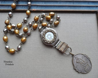 Zarco, Antique Mother of Pearl Button Necklace with Freshwater Pearls, One of a Kind, Beautiful and Unique