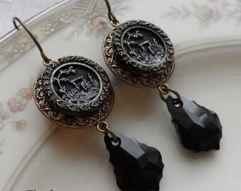 Garden Gate, Antique Button(c.1800's) Earrings