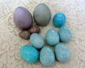 Vintage Set of Decorative Resin Eggs Robin's Egg Blue, Brown and Blue Marble Mint Condition