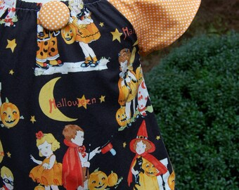 Ready to ship in size 2t  Dress/ Clothing for Child/ Baby / Toddler / Girl  Handmade Happy Halloween Peasant dress  Alexander Henry fabric