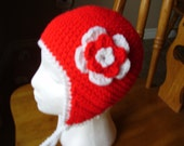 Crochet red and white earflap hat, 5 to preteen, girls accessory, 20 inch diameter x 7 inches high