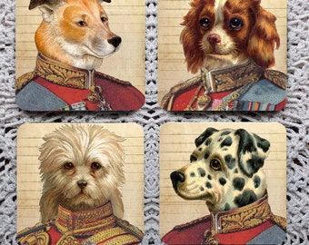 Dogs in Uniform -- Whimsical Soldier Dog Mousepad Coaster Set