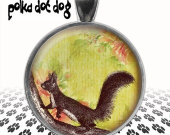 Squirrel -- Cute Animal Critter Large Glass-Covered Pendant