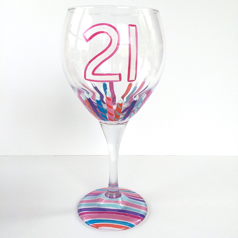 21st Birthday Wine Glass 21 Candles Birthday Wine Glass