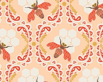 Bee Sweet Sunset - Sweet as Honey - Bonnie Christine - Art Gallery Fabrics - SAH-2602 - Bees Honeycomb Beehive