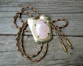 Vintage Bolo Tie Bola Necklace Rose Quartz Southwestern Jewelry Unisex