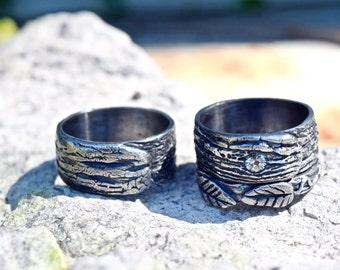 Wedding Bands Set Tree Bark Nature Engagement Ecofriendly Fine Silver
