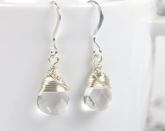 Sterling Silver Wire Wrapped Earrings, Clear Quartz and Sterling Silver Earrings [#584]